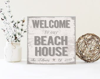 Personalized Large Family Name Beach House Sign, Beach Sign, Beach House Decor, Welcome to Our Beach House