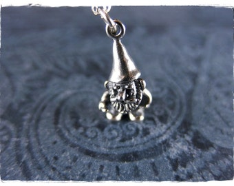 Silver Gnome Necklace - Sterling Silver Gnome Charm on a Delicate Sterling Silver Cable Chain or Charm Only