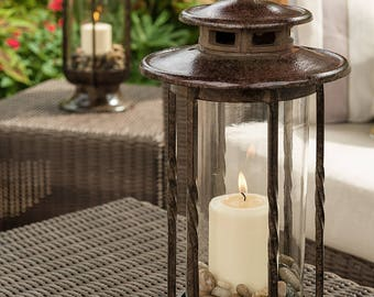 Large Decorative Hurricane Lantern, Glass Candle Holder, Cast Iron, Rustic, Indoor & Outdoor Lighting, H Potter, Pool, Patio, Deck, Decor