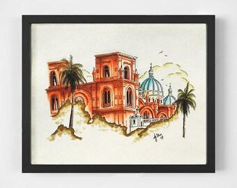 Ecuador Sketch, Cuenca Cathedral, Hand drawn Illustration