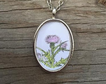 Scottish Thistle Pendant Necklace