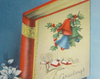 Vintage 1940s Christmas Greeting Card With Book and White Poinsettias