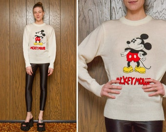 Vintage 80s RARE Disney Chenille Mickey Mouse Texture 3D Embroidered Black Red Yellow Cream White Crew Neck Sweatshirt Sweater XS S M