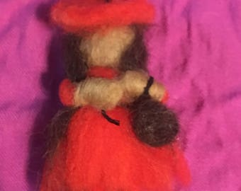 ooak needle felted witch brooch