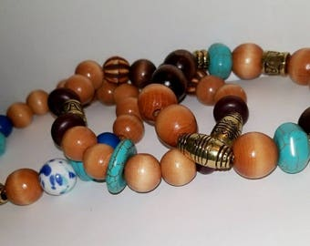 Bahari, Stackable Wood Bead and Turquoise Bracelets (Set of 3)