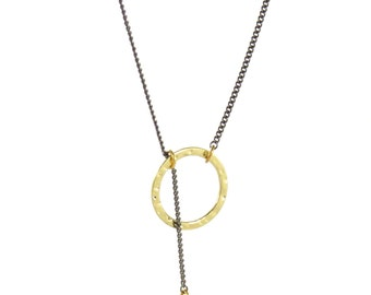Birdhouse Jewelry - Hammered Gold Circles - Lariat Necklace