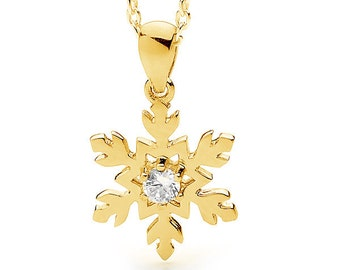 9ct, 14kt, 18ct Yellow gold diamond set snowflake pendant - necklace