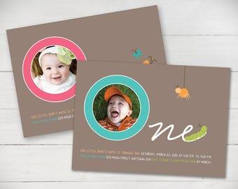 Birthday Butterflies First Birthday Invitation (Girl or Boy) - DIgital File