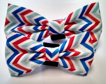Red, white and blue chevron - Bow Tie or Flower