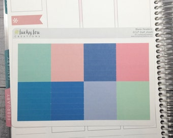 56 BLANK Daily Header Stickers for use with ERIN CONDREN Life Planner - option to customize color