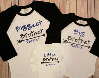 Big Brother Shirt, Middle Brother Shirt, Little Brother, Big Brother, Biggest Brother, Middle Brother, Little Brother, New Baby, Pregnancy