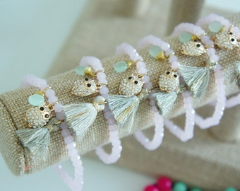 Tassel Bracelet - Charm Owl bracelet - Light Pink Beaded bracelet - 1 piece