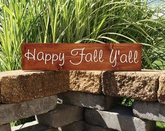 Fall Sign   Wood Sign   Happy Fall Yall   Fall Decor   Farmhouse Sign   Autumn Decor   Painted Sign   Happy Fall   22205