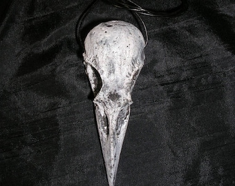 Grey and black distressed Crow Skull replica necklace OOAK