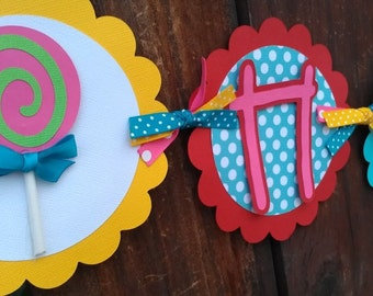 Candyland Banner. Candy Land Banner. Candy Banner. Lollipop Banner. Sweet Shop Birthday. Girl's Birthday Banner. Sweet Shoppe Banner.