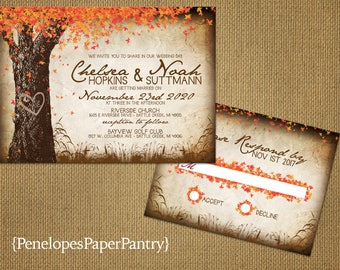 Elegant Rustic Fall Wedding Invitation,Oak Tree,Fall Leaves,Carved Heart,Carved Initials,Parchment,Antique Edges,Rustic,Custom,Envelopes