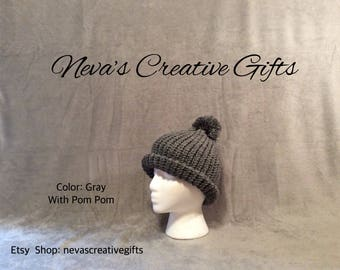 GRAY  -  Warm, Cozy Winter Hat