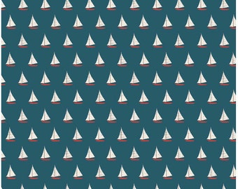 Offshore Sailboat Blue by Deena Rutter - Riley Blake 1/2 Yd and 1 Yard Cut