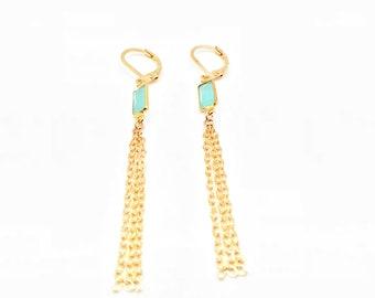 Blue Chalcedony Earrings // 18K Gold Fill // Wire Wrapped Chalcedony Earrings // Dangly Pyrite Earrings