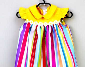 Baby girl dress, Yellow dress, Colourful dress, Baby clothes, Baby girl, Dress, Cotton baby dress, Toddler dress, Baby party dress, Clothing