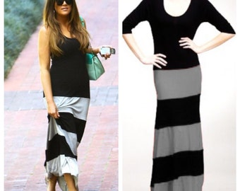 Two Tone Maxi Tank top With Racer or Regular back/ Maxi Dress 3/4 Sleeves