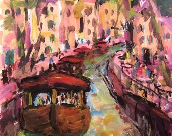 Amsterdam painting with  canals and riverboats,European vacation by artist Russ Potak