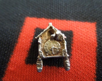 Silver Cuckoo Clock Vintage Silver Charm for Bracelet from Charmhuntress 03277