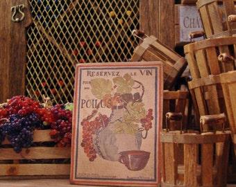 Vineyard Wine Sign 1/12 Scale Miniature Dollhouse Accessory