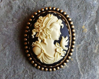Greek cameo brooch, black cameo brooch, dove brooch, antique brass brooch, holiday gift ideas, gift ideas for mom, unique Christmas gift
