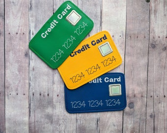 Pretend Credit Card for Play Store or Restaurant, Embroidered Marine Vinyl, Pretend Play, Kids Imaginary Play, Wipes Clean, Made in USA