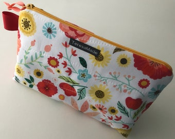 Stand Up Bright Floral Zip Pouch