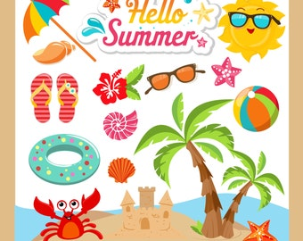 Summer Clipart, Summer Clip Art, Beach Clipart, Beach Clip Art, Summer, Vacation Clipart - EPS and PNG files included - summer  clipart
