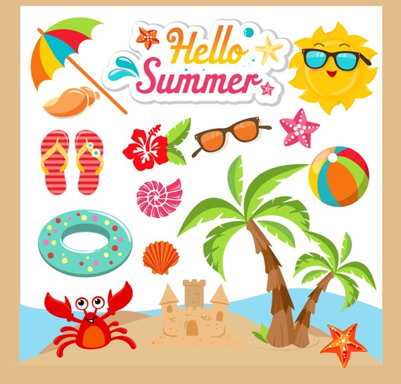 summer clipart summer clip art beach clipart beach clip rh etsy com clipart of summer sunsets in the south clip art of summer pictures