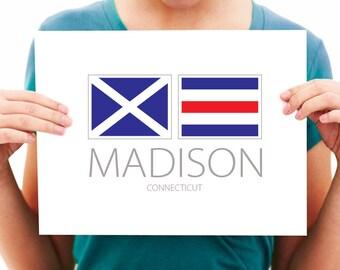 Madison, Connecticut Nautical Flag Art Print