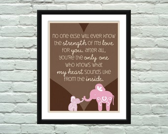 Elephant Quote Poster / Print for Baby's Nursery
