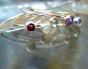 Birthstone Ring solid 14k Yellow, Rose or White gold 3mm bezel set gemstones single delicate - Custom made in USA by me.