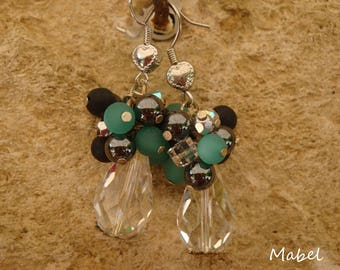 Dangle earrings, turquoise, black, Pearl Crystal, hematite and polaris, wedding