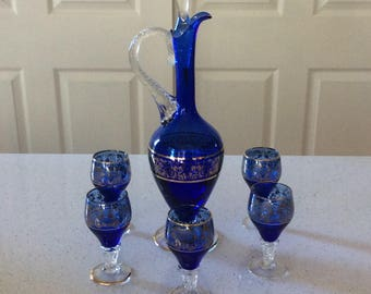 Cobalt Blue Decanter with 5 Gold Trimmed Glasses, Vintage Decanters, Collectible Decanter Sets, Cobalt Blue Glasses, Vintage Glass