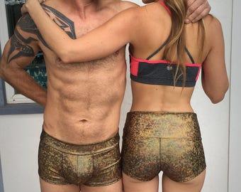 Women's gold hologram rainbow festival booty shorts