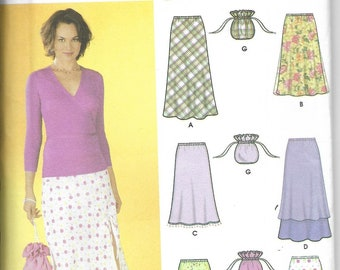 Simplicity | 7090 | Misses' Pull On Bias Skirts with Length Variations and Purse | Uncut and Factory Folded
