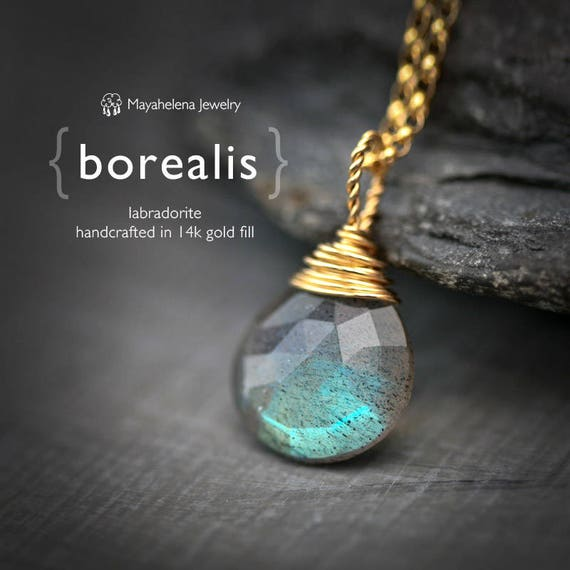 Borealis  -  Labradorite Faceted Briolette Wire Wrapped Gold Filled Necklace