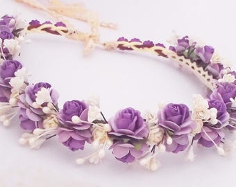 Purple and Lilac rose paper flower crown wedding floral crown festive flower headband