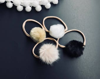 Faux Fur Pompom Ponytail Holder,baby headband and clips
