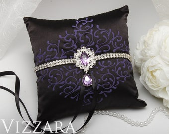 Ring bearer pillows Black tie weddings Ring bearer pillow ideas Purple and black wedding Ring bearer pillow purple Black and purple wedding