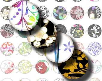 Digital Collage Sheet - Japanese Design Black and White (2) Circles 1inch - 25mm or smaller - Asian spring à la mode