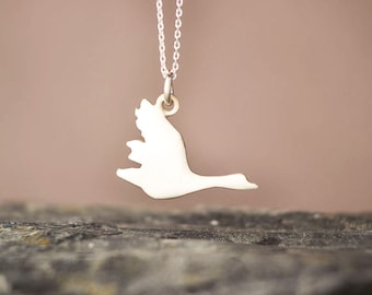 Flying Goose Necklace Bird Pendant duck necklace Sterling Silver Animal Jewelry gift women gift teen