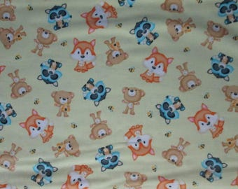 Foxes Bee Racoons Bears Yellow Cotton Fabric Fat Quarter or Custon Listing