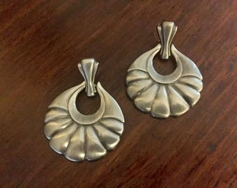 Aluminum-Vintage-Metal-Shell design-Large-Pierced Earrings-FREE shipping!