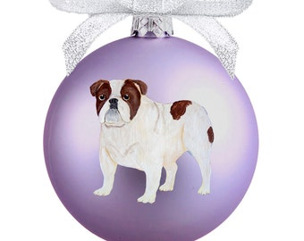 Bulldog (English Bulldog) Hand Painted Christmas Ornament - Can Be Personalized with Name