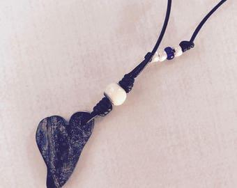 Indigo heart necklace